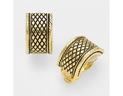 Gold Half Hoop Clip On Earrings with Black Embossing | Dazzlers
