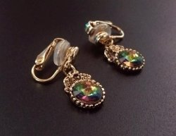 Petite Gold Drop Vintage Clip On Earrings with AB Crystals