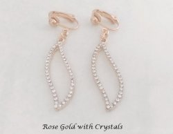 Rose Gold Clip-on Earrings with Sparkling Crystals | by Dazzlers
