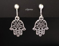 Fashion Clip-On Earrings, 'Hand of God' Design, Silver