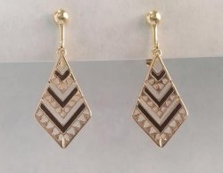 Clip On Earrings in an Aztec Design, Gold Costume Earrings