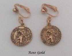 Clip On Earrings, Vintage Style Classic Coins, Rose Gold