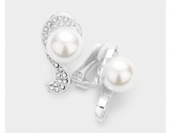 Fabulous Clip On Pearl Earrings Silver with Dazzling Rhinestones