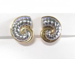 Clip On Earrings Fabulous Gold & Silver Ammolite Fossil Design