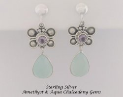 Sterlings Silver Clip On Earrings with Amethyst & Chalcedony