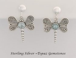 Dragonfly Clip-on with Blue Topaz Gemstones - Sterling Silver