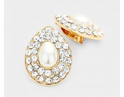 Pearl Clip Earrings Teardrop with Dazzling Clear Crystal Pave