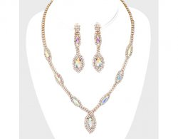 Set, Crystal Clip On Earrings & Necklace, Evening, Bridal