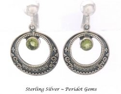Antique Finish Clip On Sterling Silver Earrings, Peridot Gems