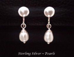 Clip On Pearl Earrings, Sterling Silver, Petite Size | Dazzlers