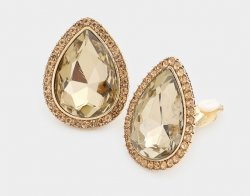 Teardrop Champagne Crystal Clip On Earrings With Pave