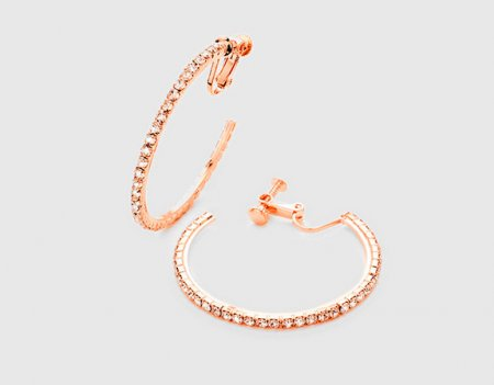 Rose Gold Hoop Clip On Earrings with Rhinestones | Dazzlers