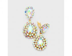 Bold Long Drop Crystal Clip On Earrings, AB Crystals