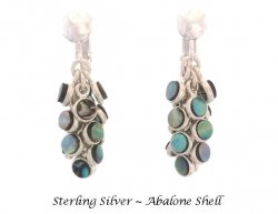 Chandelier Clip On Earrings with 12 Abalone Shell Bezels