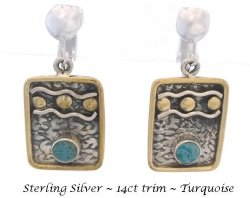 Artisan Crafted Clip On Earrings, Sterling Silver with Turquoise