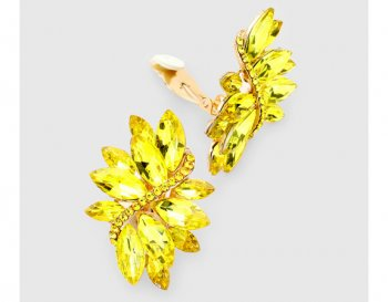 Large Yellow Marquis Crystal Clip On Earrings | by Dazzlers