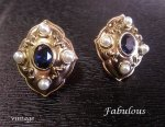 Vintage Clip On Earrings with Beautiful Faux Pearls & Crystals