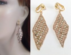 Clip On Dangle Earrings Glamorous Gold Mesh