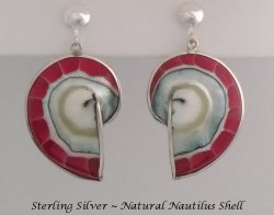 Clip On Earrings, Nautilus Shell, Sterling Silver | Dazzlers