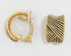 Stylish Clip On Earrings Half Hoop Gold Burnished by Dazzlers