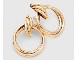Extra Large Gold Dangle Clip On Earrings Knot Design Hoops