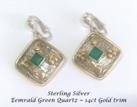Sterling Silver Clip On Earrings Emerald Quartz and Gold Trim