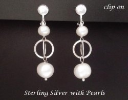 Pearl Clip On Earrings, Artisan Crafted in Sterling Silver