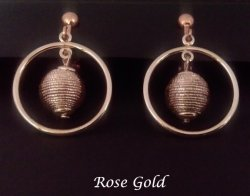 Rose Gold Clip On Dangle Earrings with Beehive inside a Hoop