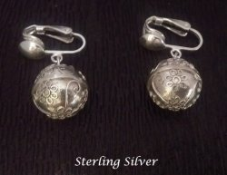 Sterling Silver Clip On Earrings Hearts & Flowers Chime Ball