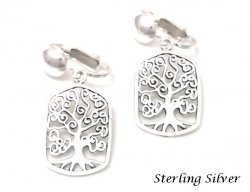 Clip On Sterling Silver Earrings Intricate Tree of Life Design