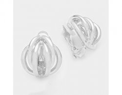 Silver Button Style Clip On Earring, Knot Design