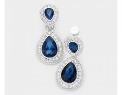 Dangle Crystal Clip On Earrings Montana Blue with Clear Pave