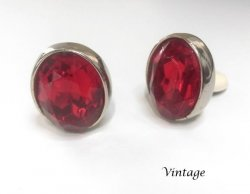 Large Vintage Large Red Crystal Clip On Earrings