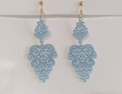 Dangle Clip On Earrings Soft Blue Metal Filigree Gold Clips