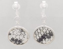 Silver Clip On Earrings with Faux Snake Skin Patterned Inlay