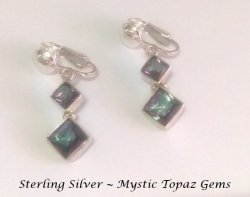 Gorgeous Sterling Silver Clip On Earrings with Mystic Topaz Gems