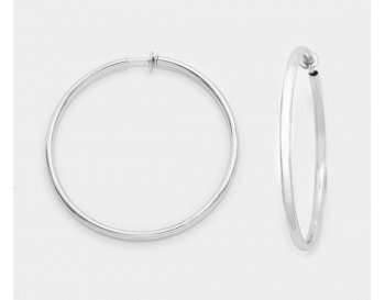 Hoop Clip On Earrings, Silver, 44mm Diameter - Sliding Clip