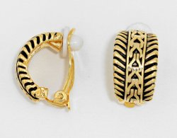 Clip On Earrings Gold Half Hoop Trabal Design, Burnished