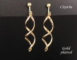 Clip On Earrings, Twist Style Gold Fashion Earrings by Dazzlers