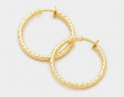 Gold Textured Hoop Clip On Earrings 30mm by Dazzlers