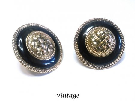 Large Vintage Clip On Earrings Gold & Black Button Style