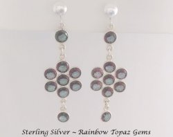 Rainbow Topaz Chandelier Clip On Earrings in Sterling Silver