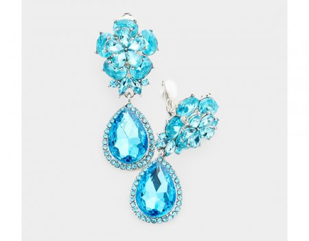 Dangle Clip On Earrings with Glamorous Aqua Crystals