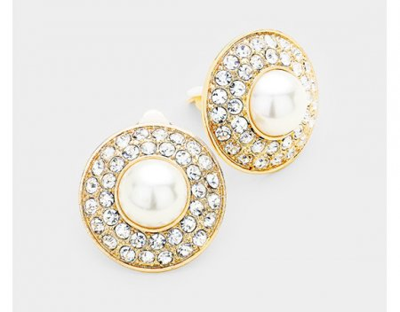 Glamorous Pearl Clip On Earrings with Dazzling Crystals