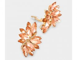 Peach Clip On Crystal Earrings Marquis Cluster Statement