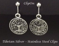 Clip On Earrings, Tree of Life, Antiqued Silver, Fashion Earring