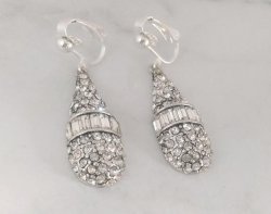 Dazzlers Silver Clip On Earrings with Diamante Crystals