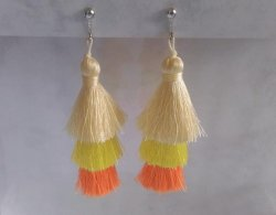 Clip On Tassel Earrings, Multi Layered, Bright Colours, Dazzlers