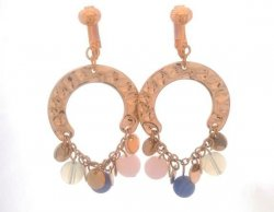 Horseshoe Bohemian Fashion Clip On Earrings, Gold with Beads