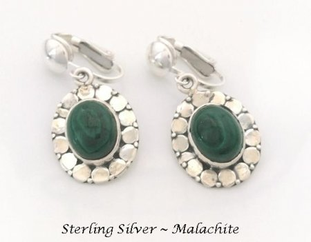 Classic Clip On Earrings, Sterling Silver with Malachite Gems